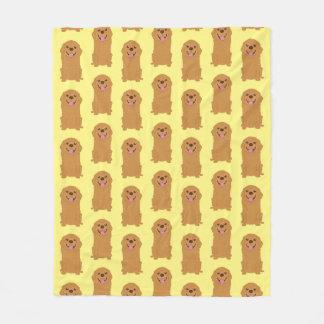 De gelukkige Illustratie van het Golden retriever Fleece Deken