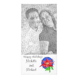 De gelukkige Kaart van de Foto van de Poinsettia v Fotokaart