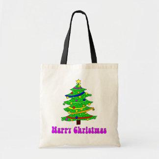 De Gelukkige Kerstboom van de hippie Budget Draagtas