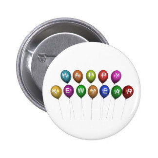 De gelukkige Knoop van de Ballon van het Nieuwjaar Ronde Button 5,7 Cm