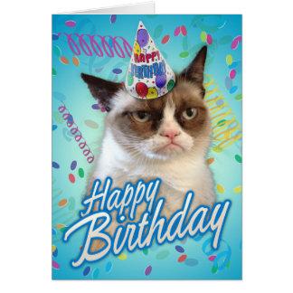 De gelukkige Knorrige Kat van de Verjaardag Wenskaart