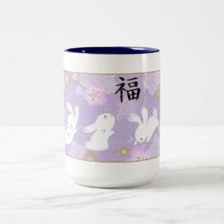 De gelukkige Mok van Konijntjes (Lavendel)