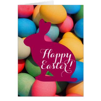 De gelukkige Multicolored Eieren van de Paashaas Briefkaarten 0