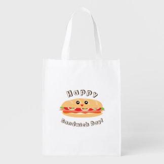 De gelukkige Nationale Leuke Dag van de Sandwich Herbruikbare Boodschappentas