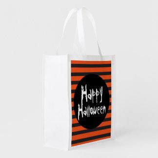 De gelukkige Oranje Zwarte Gestreepte Truc van Boodschappentas