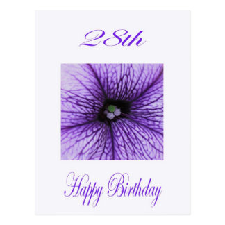 De gelukkige paarse Bloesem van de 28ste Briefkaart