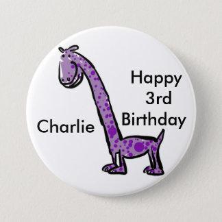De gelukkige paarse dinosaurus 3de van de ronde button 7,6 cm