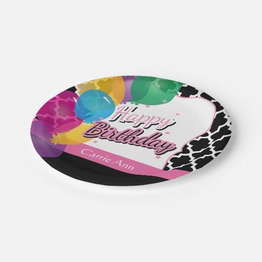 De gelukkige Partij van de Verjaardag met Ballons Papieren Bordje