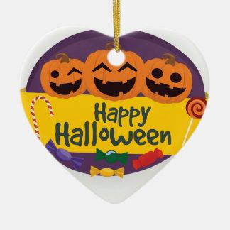 De gelukkige Pompoen van Halloween Keramisch Hart Ornament