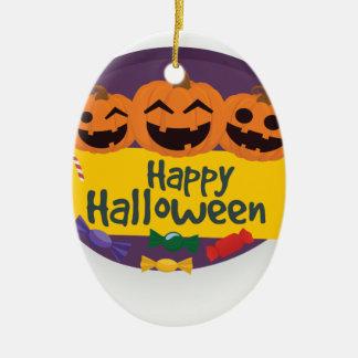 De gelukkige Pompoen van Halloween Keramisch Ovaal Ornament