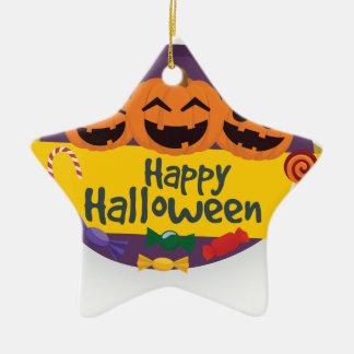 De gelukkige Pompoen van Halloween Keramisch Ster Ornament