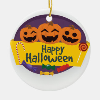 De gelukkige Pompoen van Halloween Rond Keramisch Ornament