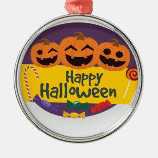 De gelukkige Pompoen van Halloween Zilverkleurig Rond Ornament