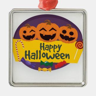 De gelukkige Pompoen van Halloween Zilverkleurig Vierkant Ornament