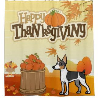 De gelukkige Rat Terrier van de Thanksgiving Douchegordijn