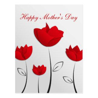De gelukkige Rode Bloemen van het Moederdag Briefkaart