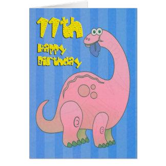 De gelukkige Roze Dinosaurus van de Elfde Wenskaart
