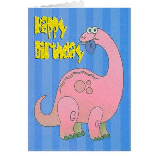 De gelukkige Roze Dinosaurus van de Verjaardag Wenskaart