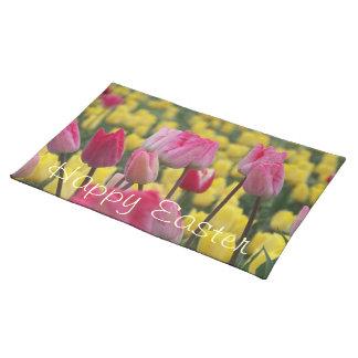 De gelukkige Roze en Gele Tulpen Placemat van Pase