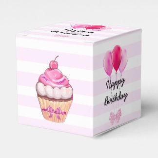 De gelukkige Roze Kers Cupcake van de Verjaardag Bedankdoosjes