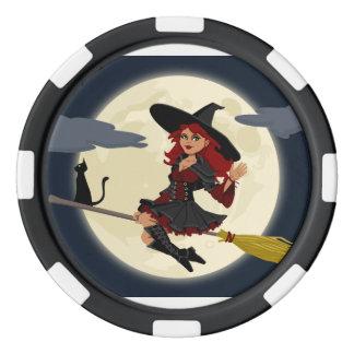 De gelukkige Spaander van de Pook van de Heks van Pokerchips