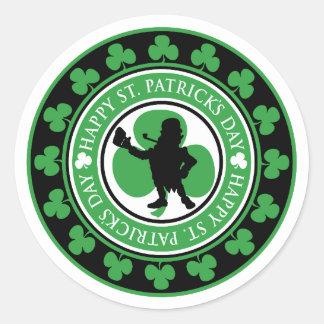 De gelukkige St. Patrick Klavers van de Kabouter Ronde Stickers