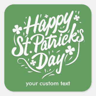 De gelukkige St Patricks Douane van de Klaver van Vierkant Stickers