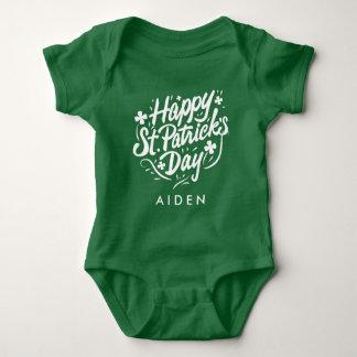 De gelukkige St Patricks Ierse Gepersonaliseerde Romper