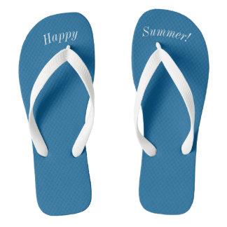 De gelukkige Stevige Oceaan Blauwe W Brede Witte Teenslippers