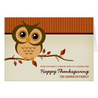 De Gelukkige Thanksgiving van de Uil van Cutie Kaart