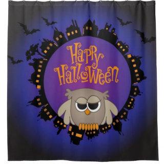 De gelukkige Uil van Halloween Douchegordijn