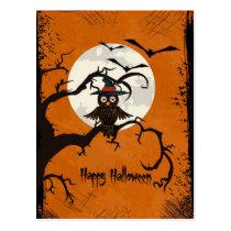 De gelukkige Uil van Halloween in een Boom Briefkaart