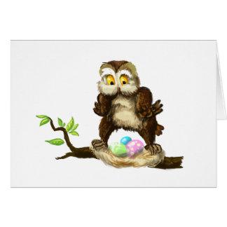 De gelukkige uil van Pasen Wenskaart