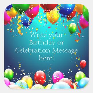 De gelukkige Verjaardag - Blauwe Gekleurde Ballons Vierkante Sticker
