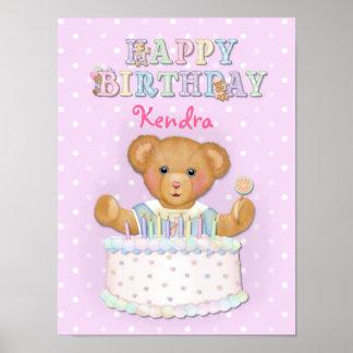 De gelukkige Verjaardag draagt Meisje - pas aan Poster