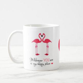 De gelukkige Vogels Roze Famingos van de Liefde Koffiemok