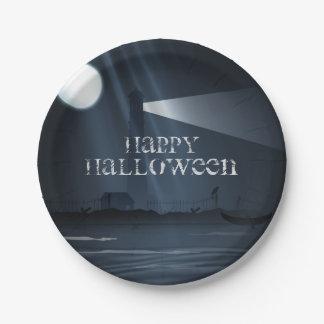 De gelukkige Vuurtoren van Halloween bij de Borden Papieren Bordje