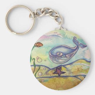 De gelukkige Waterverf Keychain van de Walvis Sleutelhanger