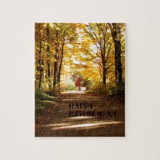 De gelukkige Weg van de Herfst van de Schuur van d Legpuzzel