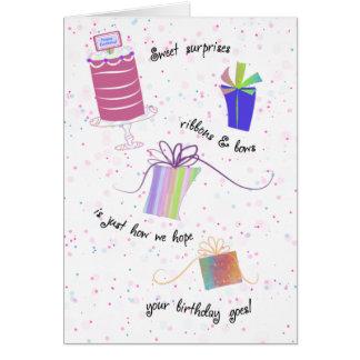De gelukkige Zoete Verjaardag van 16 Linten en van Briefkaarten 0