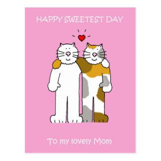 De gelukkige Zoetste leuke katten van het Mamma Briefkaart