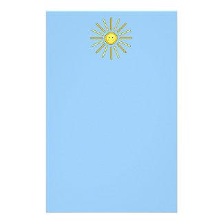 De gelukkige Zon van de Zomer. Geel en Blauw Briefpapier