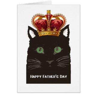 De gelukkige Zwarte Kat die van het Vaderdag Kroon Wenskaart