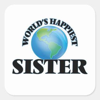 De Gelukkigste Zuster van de wereld Vierkant Stickers