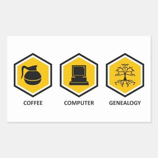 De Genealogie van de Computer van de koffie Rechthoek Sticker