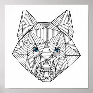 De geometrische Blauwe Eyed Druk van de Wolf Poster