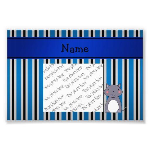 De gepersonaliseerde blauwe grijze strepen van de  fotografische afdruk