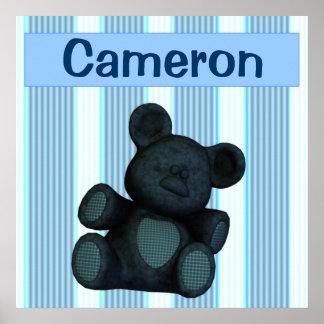 De gepersonaliseerde blauwe teddybeer van kinderda poster