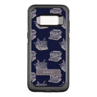 De gepersonaliseerde Blauwe Vintage Schrijfmachine OtterBox Commuter Samsung Galaxy S8 Hoesje