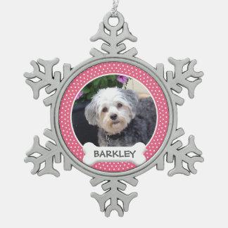 De gepersonaliseerde Foto van het Huisdier met het Tin Sneeuwvlok Ornament
